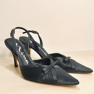 Nina Black Satin Sling back Heels with Bow 8M